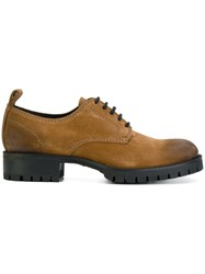 Dsquared2 Chunky Sole Lace Up Shoes Leather Suede Rubber Brown