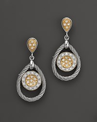 Charriol Classique Collection 18K Yellow Gold Stainless Steel And White Gold Nautical Cable Diamond Earrings Yellow Grey