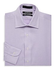 Saks Fifth Avenue Black Slim Fit Two Tone Cotton Dress Shirt Purple