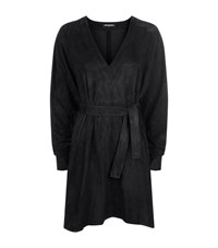 Balmain Suede Batwing Dress Female Black