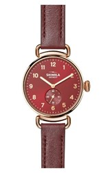 Shinola Women's The Canfield Alligator Strap Watch 38Mm Red Rose Gold