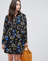Liquorish Floral Shirt Dress Black Floral