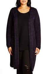 City Chic Plus Size Women's Space Dye Hooded Cardigan Iris