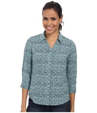 Royal Robbins Expedition Stretch 3 4 Sleeve Print Light Aqua Women's Long Sleeve Button Up Blue