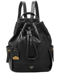Fossil Vickery Leather Large Backpack Black