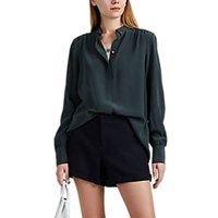 Leo And Sage Washed Silk Button Down Shirt Green