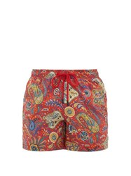 Etro Paisley Print Technical Twill Swim Shorts Red