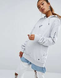 Criminal Damage Oversized Distressed Hoodie With Logo Frost Grey