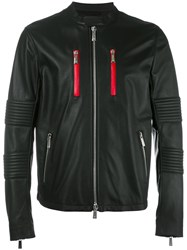 Marcelo Burlon County Of Milan Banded Collar Leather Jacket Black