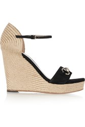 Gucci Horsebit Detailed Suede Espadrille Wedge Sandals