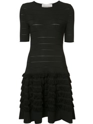 Carolina Herrera Short Sleeve Fringe Dress Black