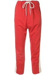 Bassike Cropped Track Pants Red