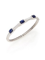 Judith Ripka Classic Blue Corundum White Sapphire And Sterling Silver Triple Station Bangle Bracelet Blue Silver