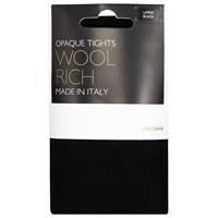 John Lewis Wool Ribbed Opaque Tights Black