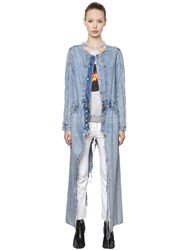 Unravel Destroyed Cotton Denim Long Coat
