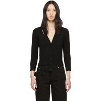 Alexander Mcqueen Black Wool Three Quarter Sleeve Cardigan