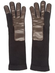 Inverni Knitted Leather Gloves Black