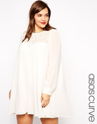 Asos Curve Exclusive Pleat Swing Dress With Embroidery Cream