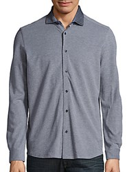Saks Fifth Avenue Long Sleeve Cotton Shirt Navy