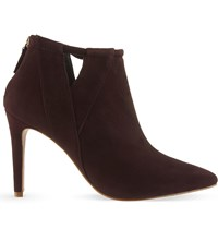 Reiss Nicola Suede Heeled Ankle Boots Bordeaux