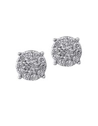 Effy Geo Diamond And 14K White Gold Medallion Stud Earrings