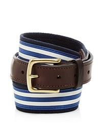 Vineyard Vines Edgartown Striped Canvas Club Belt Brown Navy Stripe