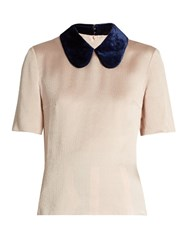 Roksanda Ilincic Madden Velvet Collar Silk Blend Top Light Pink