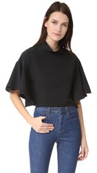 Milly Ruffle Mock Neck Top Black
