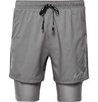 Nike Running Flex Distance 2 In 1 Mesh Panelled Dri Fit Shorts Gray