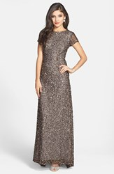 Petite Women's Adrianna Papell Short Sleeve Sequin Mesh Gown Lead