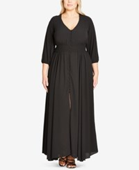 City Chic Trendy Plus Size Button Front Maxi Dress Black