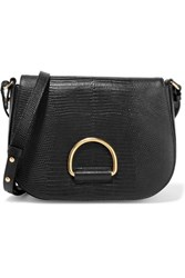 Little Liffner D Saddle Medium Lizard Effect Leather Shoulder Bag Black
