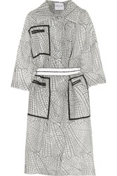 Vionnet Belted Printed Organza Coat Nude