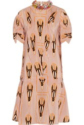 Miu Miu Embellished Printed Silk Chiffon Dress Blush