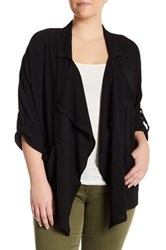 Bobeau Drape Front Woven Jacket Plus Size Black