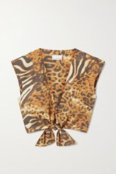 Miguelina Marcy Cropped Tie Front Animal Print Cotton Poplin Top Orange