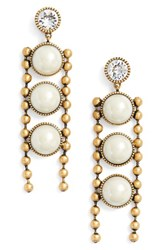 Marc Jacobs Women's Ball Chain Drop Earrings Cream Antique Gold