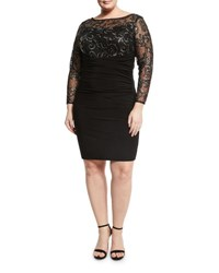 Marina Plus Sequined Long Sleeve Ruched Dress Black