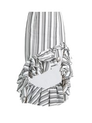 Caroline Constas Striped Ruffled Hem Pencil Skirt Black White