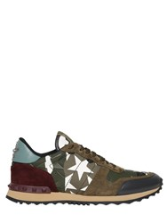 Valentino Rockrunner Stars Canvas And Suede Sneakers