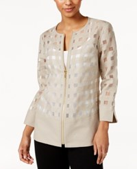 Jm Collection Windowpane Jacket Only At Macy's Flax