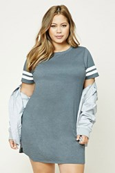 Forever 21 Plus Size Varsity T Shirt Dress Heather Grey Cream