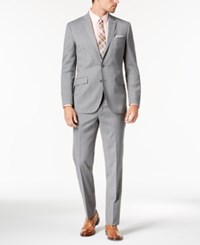 Kenneth Cole New York Slim Fit Stretch Performance Solid Travel Suit Light Grey