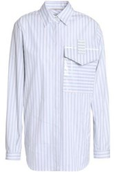Marco De Vincenzo Coated Striped Cotton Blouse Light Gray