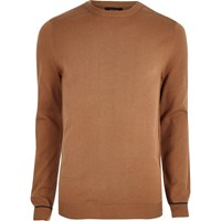River Island Mens Brown Knit Mesh Panel Jumper