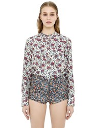 Isabel Marant Floral Printed Silk Satin Flowy Top