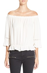 See You Monday Lace Inset Off The Shoulder Top Ivory
