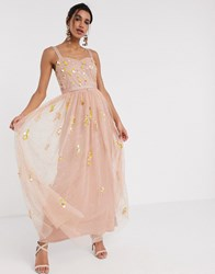 Frock And Frill Sequin Tulle Maxi Dress In Blush Pink