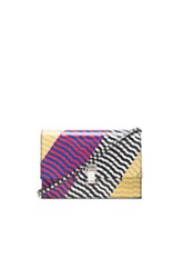 Proenza Schouler Small Lunch Bag Mixed Printed Ayers In Abstract Animal Print Checkered And Plaid Black Red Abstract Animal Print Checkered And Plaid Black Red