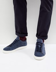 Selected Homme Trainer In Navy Suede With White Sole Blue Ashes